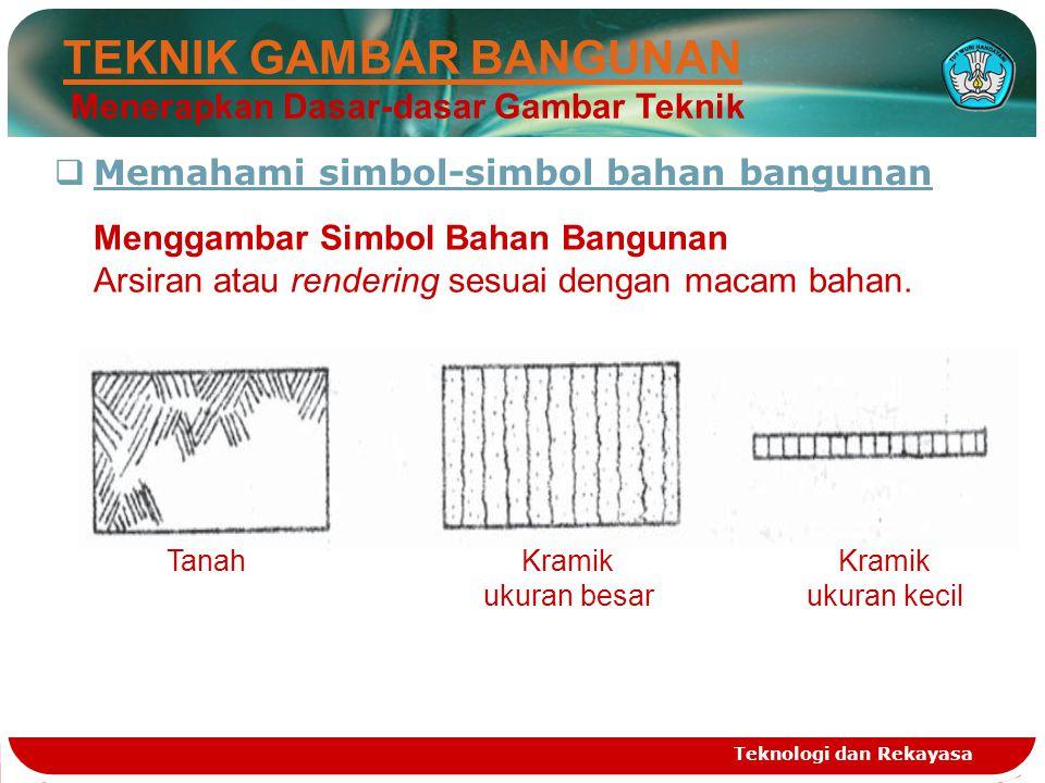 Teknologi dan Rekayasa  Memahami simbol-simbol bahan bangunan TEKNIK GAMBAR BANGUNAN Menerapkan Dasar-dasar Gambar Teknik Menggambar Simbol Bahan Ban