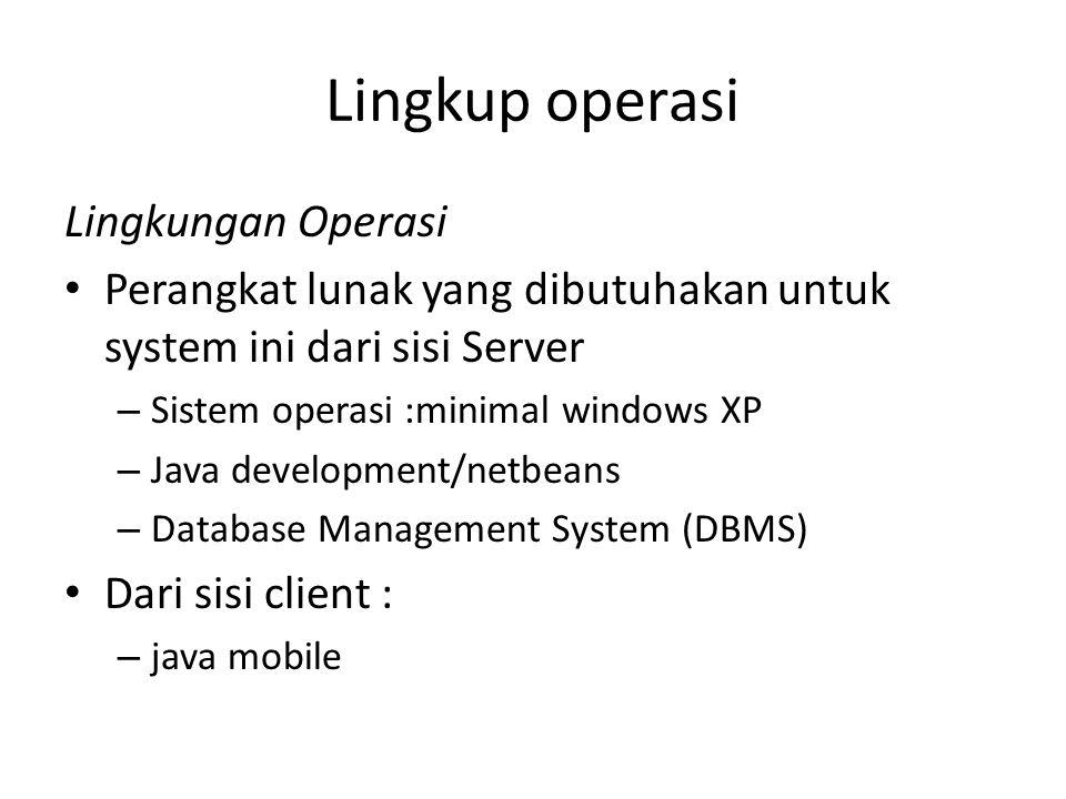 Lingkup operasi Lingkungan Operasi Perangkat lunak yang dibutuhakan untuk system ini dari sisi Server – Sistem operasi :minimal windows XP – Java development/netbeans – Database Management System (DBMS) Dari sisi client : – java mobile