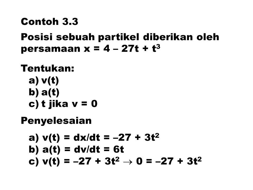 Contoh 3.3 Posisi sebuah partikel diberikan oleh persamaan x = 4 – 27t + t 3 Tentukan: a)v(t) b)a(t) c)t jika v = 0 Penyelesaian a) v(t) = dx/dt = –27 + 3t 2 b) a(t) = dv/dt = 6t c) v(t) = –27 + 3t 2  0 = –27 + 3t 2