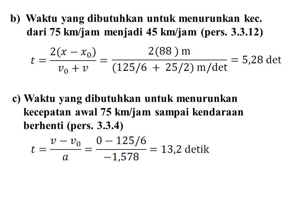 b) Waktu yang dibutuhkan untuk menurunkan kec.dari 75 km/jam menjadi 45 km/jam (pers.