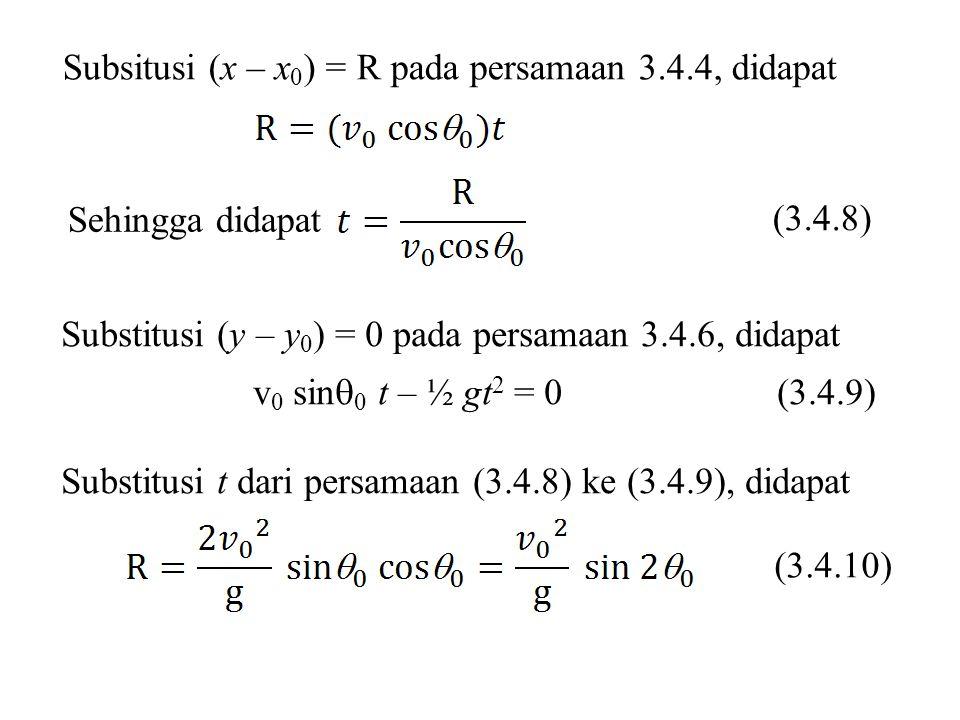 Subsitusi (x – x 0 ) = R pada persamaan 3.4.4, didapat Substitusi (y – y 0 ) = 0 pada persamaan 3.4.6, didapat v 0 sin  0 t – ½ gt 2 = 0 (3.4.9) Substitusi t dari persamaan (3.4.8) ke (3.4.9), didapat (3.4.8) Sehingga didapat (3.4.10)