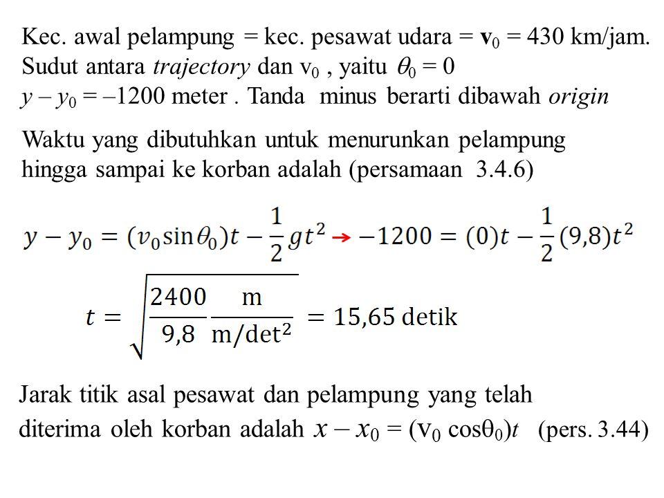 Kec.awal pelampung = kec. pesawat udara = v 0 = 430 km/jam.