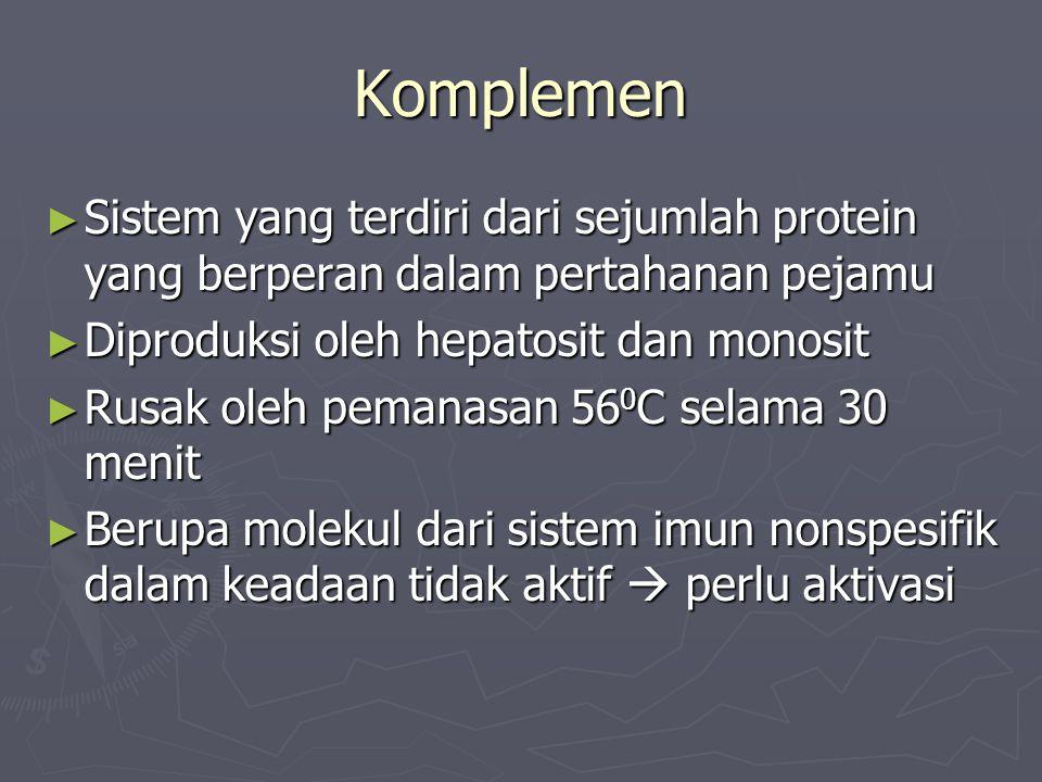 Komponen Komplemen ► C1-C9 ► Bila diaktifkan akan dipecah menjadi fragmen khusus (misal C3a, C4a) ► Mengikat serta mengaktifkan molekul lain ► Selama aktivasi protein-protein tersebut diaktifkan secara berurutan ► Fragmen yang dihasilkan:  Menjadi katalisator reaksi selanjutnya  Menjadi inhibitor yang menghentikan reaksi selanjutnya