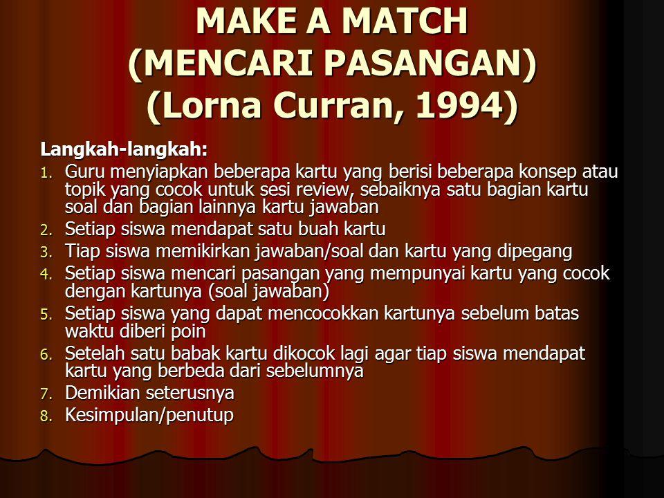 MAKE A MATCH (MENCARI PASANGAN) (Lorna Curran, 1994) Langkah-langkah: 1.