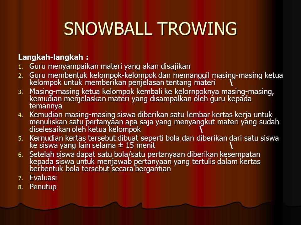 SNOWBALL TROWING Langkah-langkah : 1.Guru menyampaikan materi yang akan disajikan 2.
