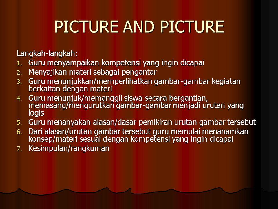 PICTURE AND PICTURE Langkah-langkah: 1.Guru menyampaikan kompetensi yang ingin dicapai 2.
