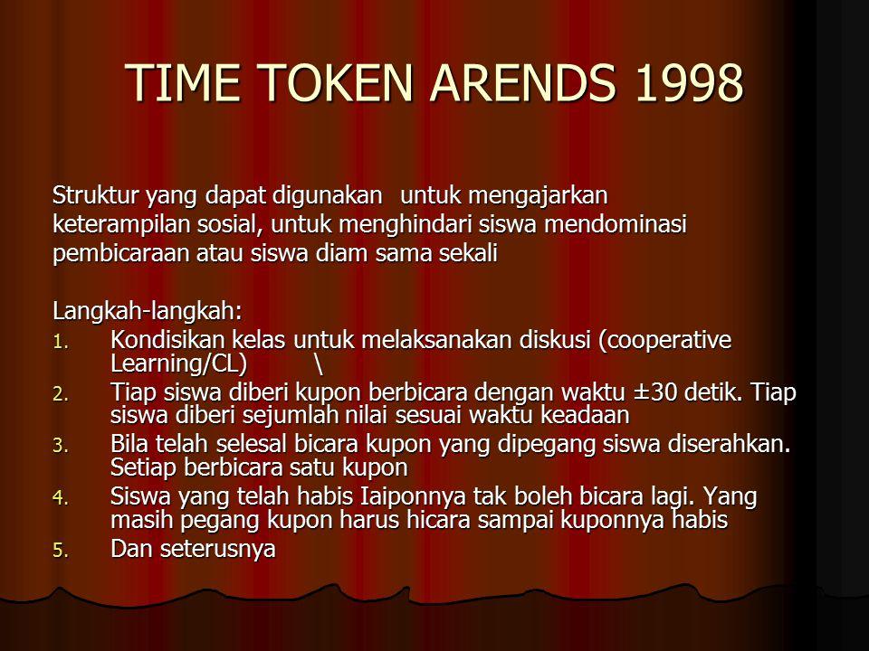 TIME TOKEN ARENDS 1998 Struktur yang dapat digunakanuntuk mengajarkan keterampilan sosial, untuk menghindari siswa mendominasi pembicaraan atau siswa diam sama sekali Langkah-langkah: 1.