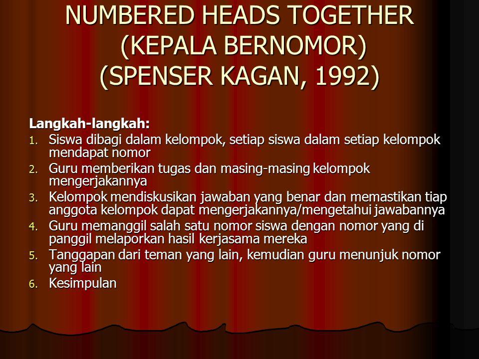 NUMBERED HEADS TOGETHER (KEPALA BERNOMOR) (SPENSER KAGAN, 1992) Langkah-langkah: 1.
