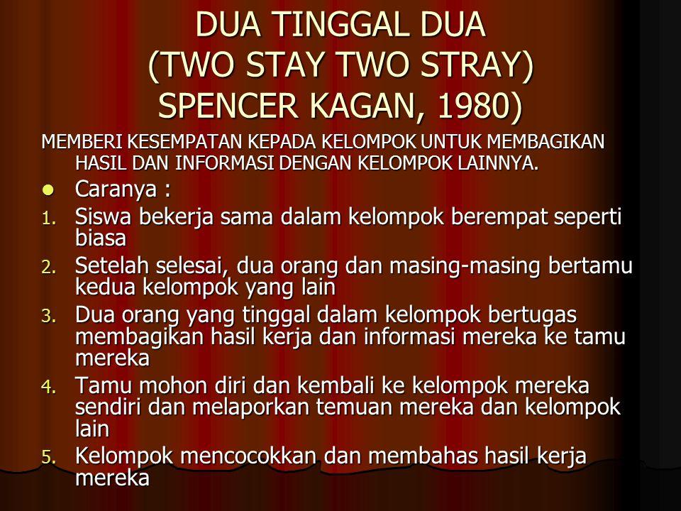 DUA TINGGAL DUA (TWO STAY TWO STRAY) SPENCER KAGAN, 1980) MEMBERI KESEMPATAN KEPADA KELOMPOK UNTUK MEMBAGIKAN HASIL DAN INFORMASI DENGAN KELOMPOK LAINNYA.
