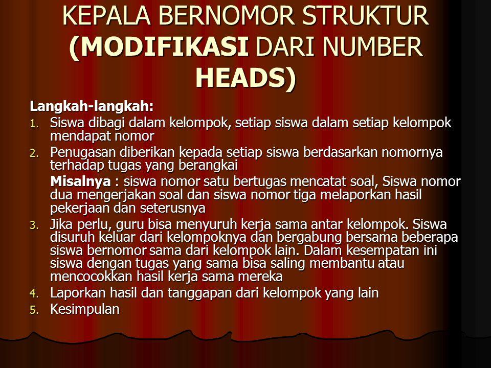 KEPALA BERNOMOR STRUKTUR (MODIFIKASI DARI NUMBER HEADS) Langkah-langkah: 1.