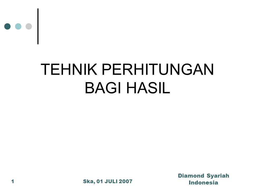 Ska, 01 JULI 2007 Diamond Syariah Indonesia 1 TEHNIK PERHITUNGAN BAGI HASIL