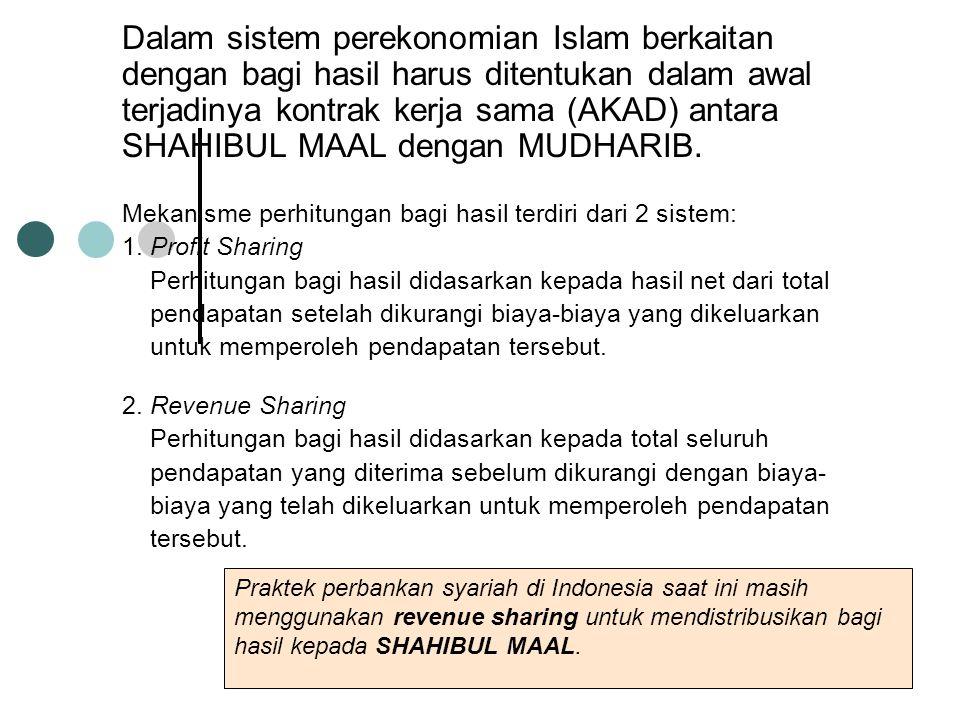 Dalam sistem perekonomian Islam berkaitan dengan bagi hasil harus ditentukan dalam awal terjadinya kontrak kerja sama (AKAD) antara SHAHIBUL MAAL deng