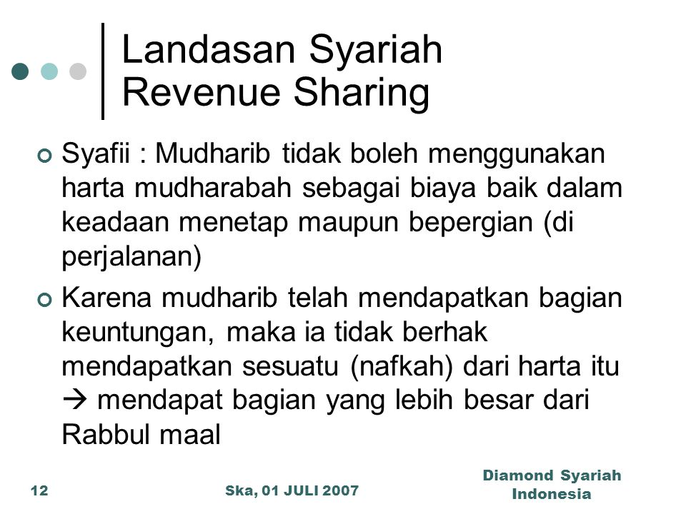 Ska, 01 JULI 2007 Diamond Syariah Indonesia 12 Landasan Syariah Revenue Sharing Syafii : Mudharib tidak boleh menggunakan harta mudharabah sebagai bia