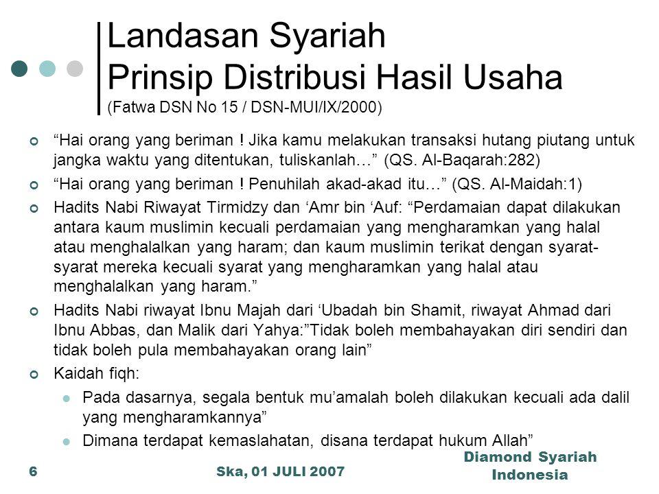 """Ska, 01 JULI 2007 Diamond Syariah Indonesia 6 Landasan Syariah Prinsip Distribusi Hasil Usaha (Fatwa DSN No 15 / DSN-MUI/IX/2000) """"Hai orang yang beri"""