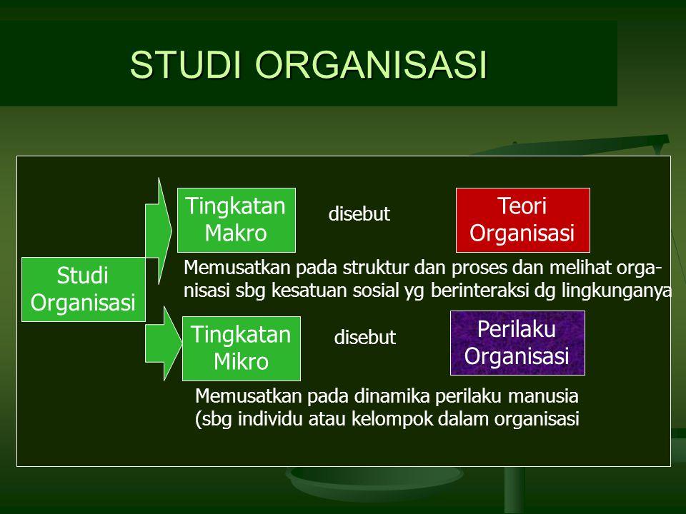 STUDI ORGANISASI Studi Organisasi Tingkatan Makro Tingkatan Mikro Memusatkan pada struktur dan proses dan melihat orga- nisasi sbg kesatuan sosial yg berinteraksi dg lingkunganya Memusatkan pada dinamika perilaku manusia (sbg individu atau kelompok dalam organisasi Teori Organisasi Perilaku Organisasi disebut