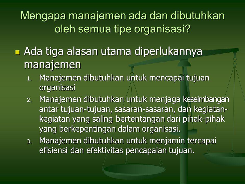 Mengapa manajemen ada dan dibutuhkan oleh semua tipe organisasi.