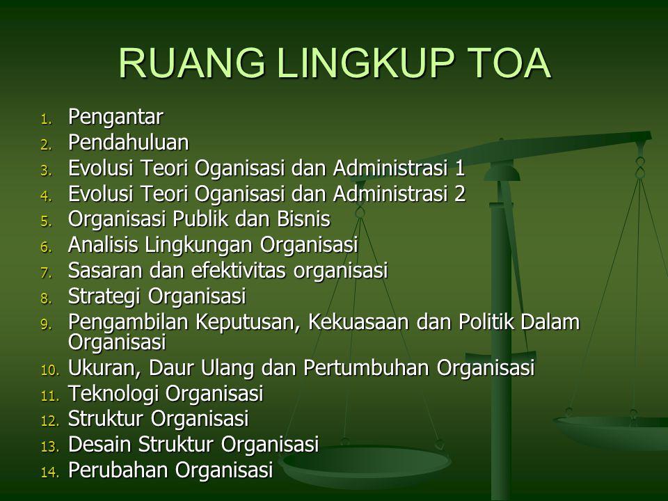 RUANG LINGKUP TOA 1.Pengantar 2. Pendahuluan 3. Evolusi Teori Oganisasi dan Administrasi 1 4.