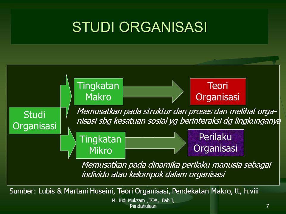STUDI ORGANISASI Studi Organisasi Tingkatan Makro Tingkatan Mikro Memusatkan pada struktur dan proses dan melihat orga- nisasi sbg kesatuan sosial yg
