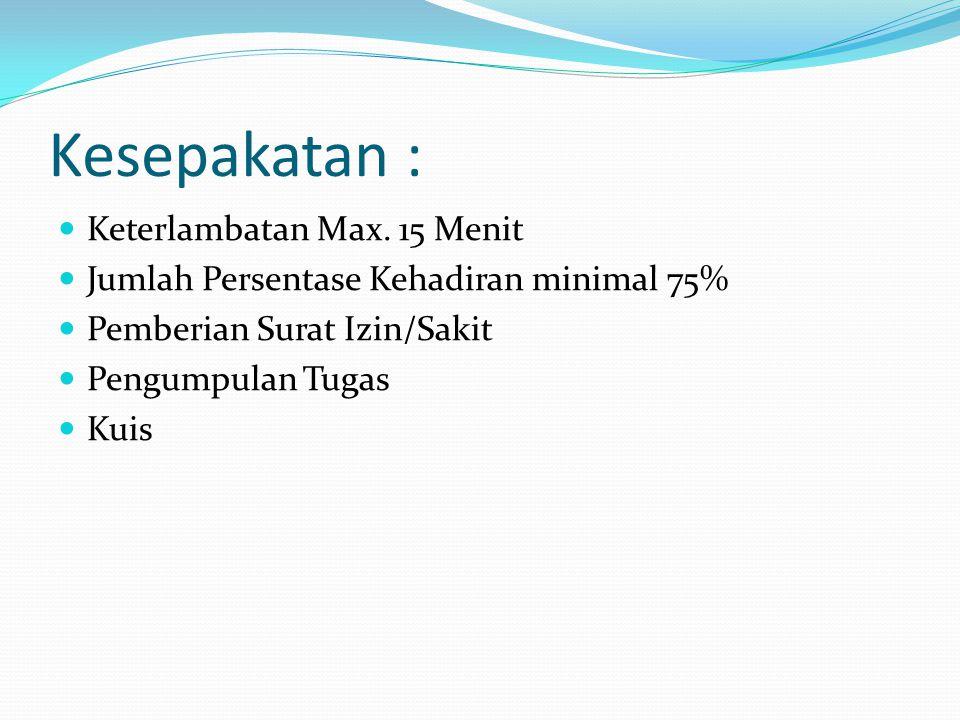 Kesepakatan : Keterlambatan Max. 15 Menit Jumlah Persentase Kehadiran minimal 75% Pemberian Surat Izin/Sakit Pengumpulan Tugas Kuis