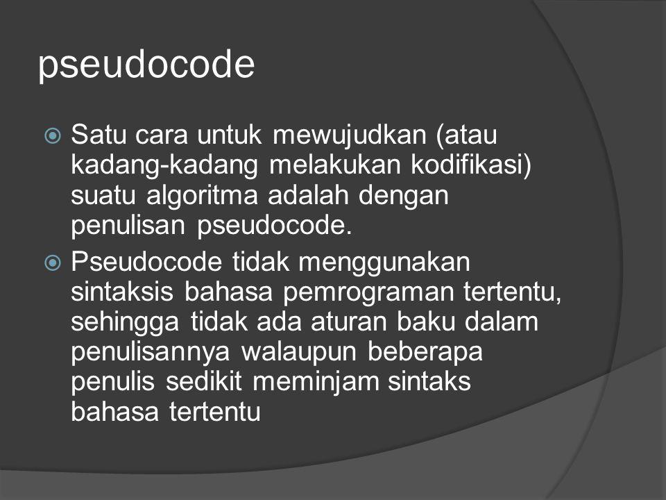 pseudocode  Satu cara untuk mewujudkan (atau kadang-kadang melakukan kodifikasi) suatu algoritma adalah dengan penulisan pseudocode.  Pseudocode tid