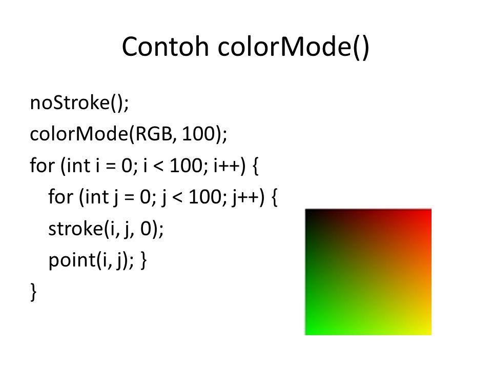 Contoh colorMode() noStroke(); colorMode(RGB, 100); for (int i = 0; i < 100; i++) { for (int j = 0; j < 100; j++) { stroke(i, j, 0); point(i, j); } }