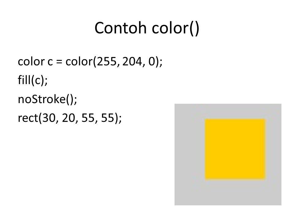 Sytax fill() fill(rgb) fill(rgb, alpha) fill(gray) fill(gray, alpha) fill(v1, v2, v3) fill(v1, v2, v3, alpha) rgb : variabel warna atau nilai hexa.