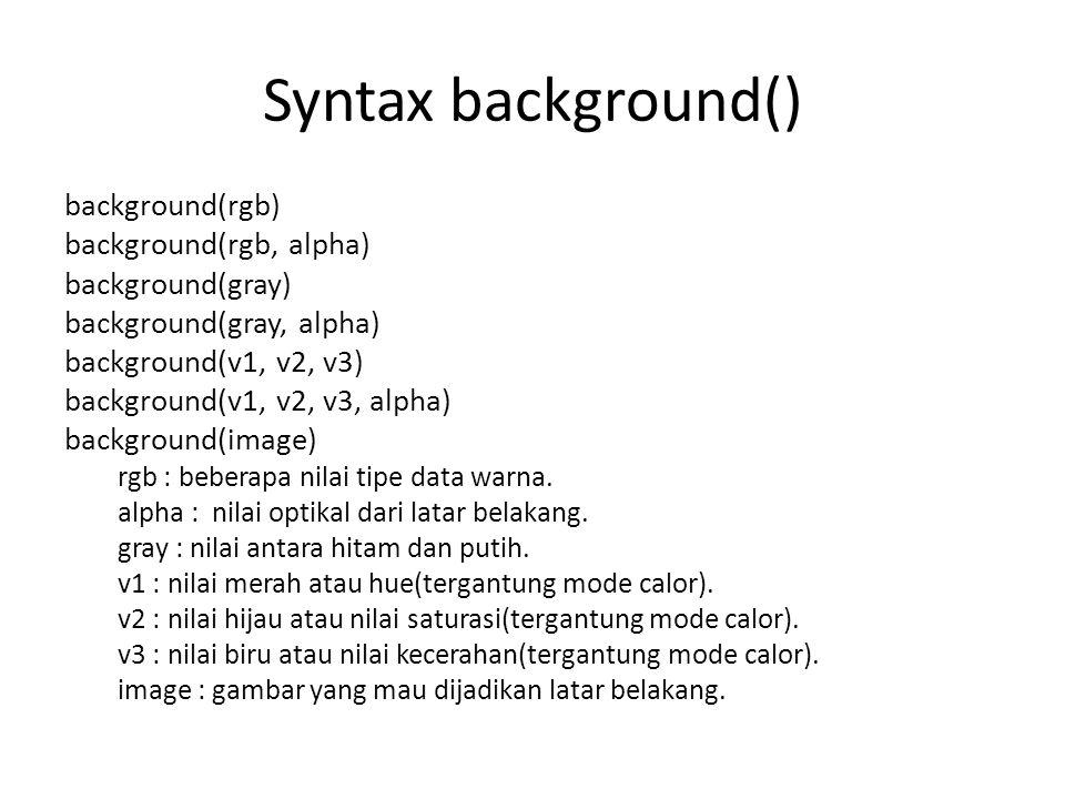 Syntax background() background(rgb) background(rgb, alpha) background(gray) background(gray, alpha) background(v1, v2, v3) background(v1, v2, v3, alph