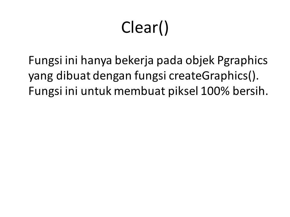 Clear() Fungsi ini hanya bekerja pada objek Pgraphics yang dibuat dengan fungsi createGraphics(). Fungsi ini untuk membuat piksel 100% bersih.