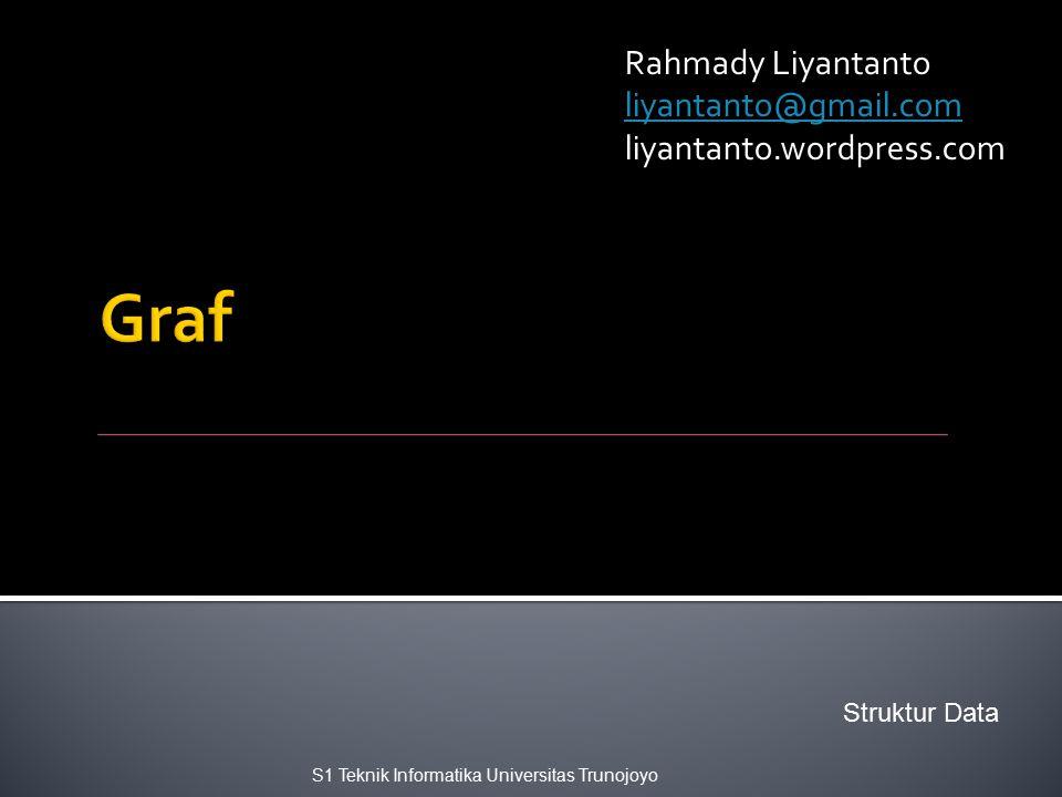 Rahmady Liyantanto liyantanto@gmail.com liyantanto.wordpress.com S1 Teknik Informatika Universitas Trunojoyo Struktur Data