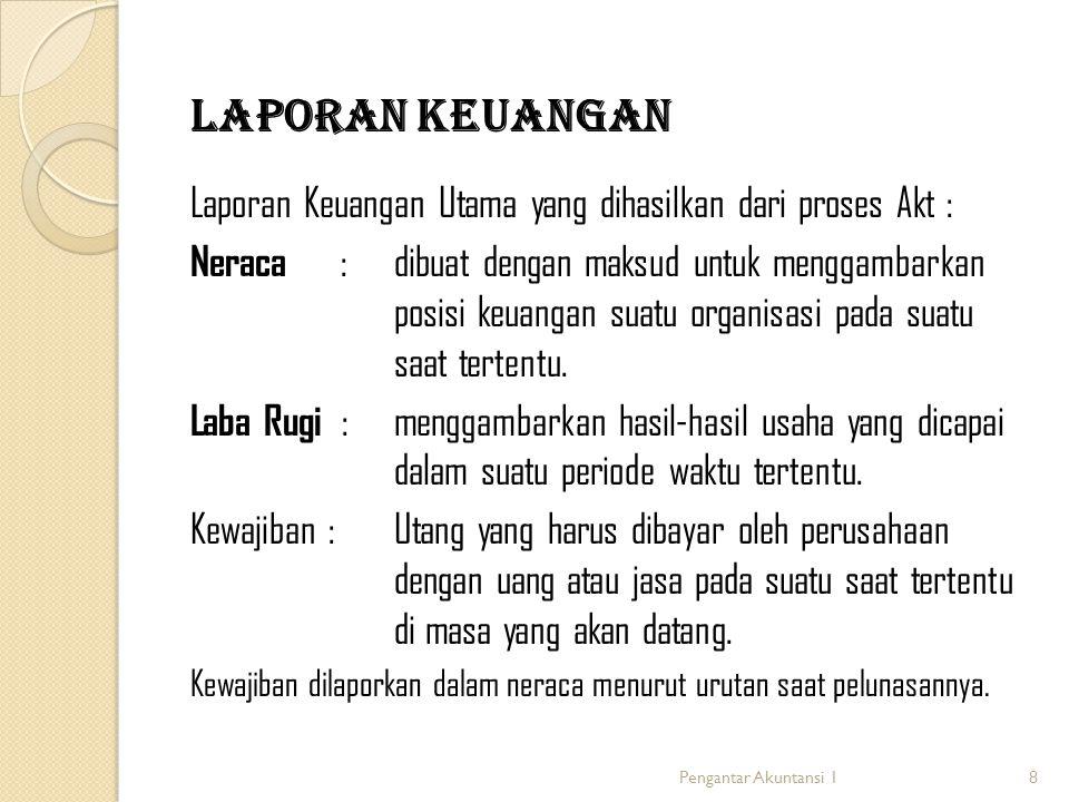 8 Laporan Keuangan Laporan Keuangan Utama yang dihasilkan dari proses Akt : Neraca : dibuat dengan maksud untuk menggambarkan posisi keuangan suatu or