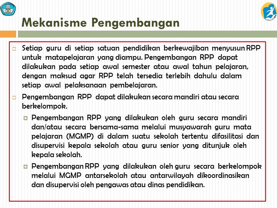Mekanisme Pengembangan  Setiap guru di setiap satuan pendidikan berkewajiban menyusun RPP untuk matapelajaran yang diampu. Pengembangan RPP dapat dil