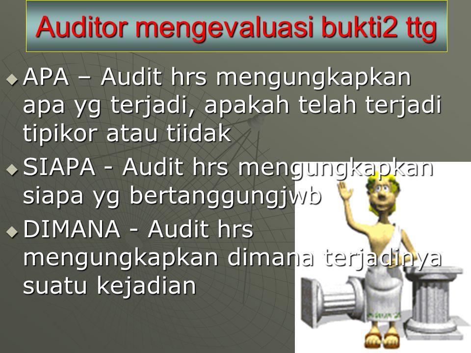 Auditor mengevaluasi bukti2 ttg  APA – Audit hrs mengungkapkan apa yg terjadi, apakah telah terjadi tipikor atau tiidak  SIAPA - Audit hrs mengungkapkan siapa yg bertanggungjwb  DIMANA - Audit hrs mengungkapkan dimana terjadinya suatu kejadian