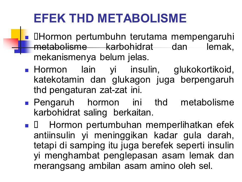EFEK THD METABOLISME  Hormon pertumbuhn terutama mempengaruhi metabolisme karbohidrat dan lemak, mekanismenya belum jelas. Hormon lain yi insulin, gl