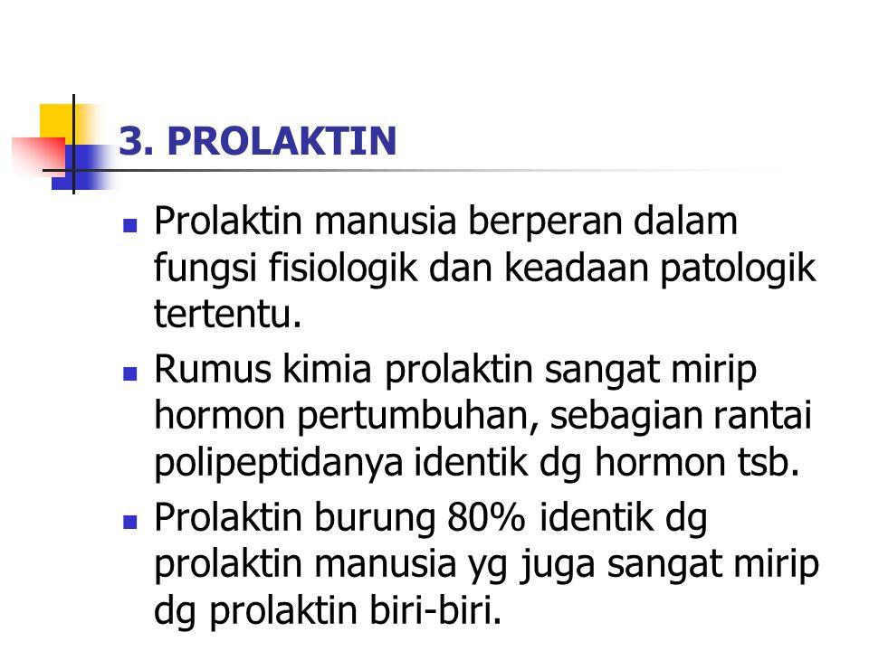 3. PROLAKTIN Prolaktin manusia berperan dalam fungsi fisiologik dan keadaan patologik tertentu. Rumus kimia prolaktin sangat mirip hormon pertumbuhan,