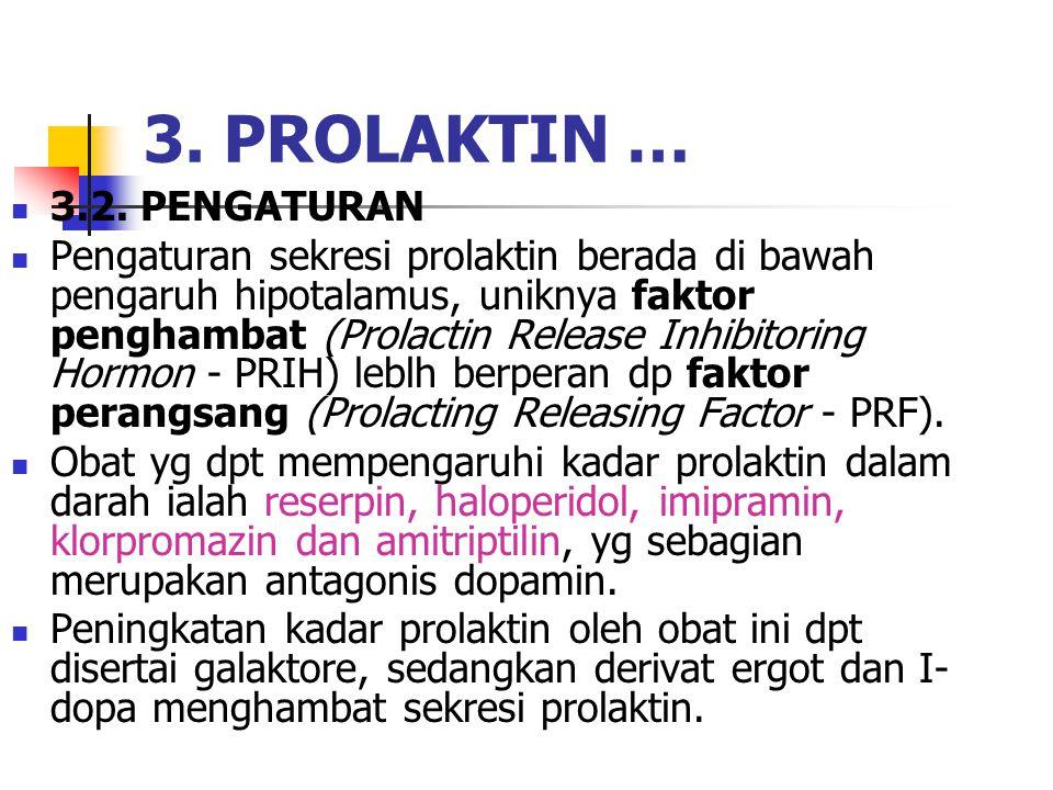 3.2. PENGATURAN Pengaturan sekresi prolaktin berada di bawah pengaruh hipotalamus, uniknya faktor penghambat (Prolactin Release Inhibitoring Hormon -