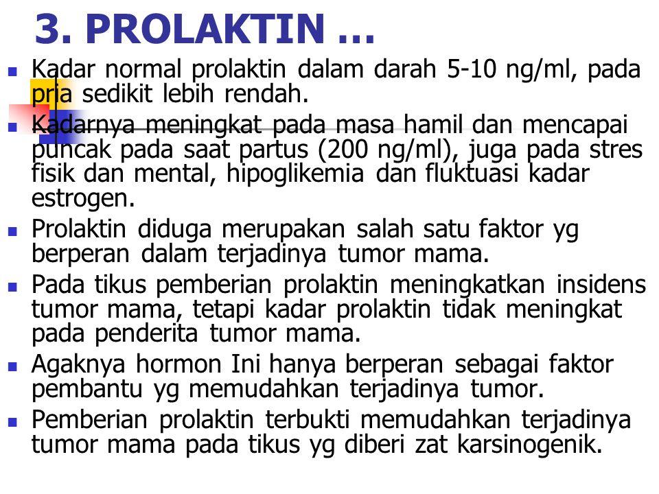 Kadar normal prolaktin dalam darah 5-10 ng/ml, pada pria sedikit lebih rendah. Kadarnya meningkat pada masa hamil dan mencapai puncak pada saat partus