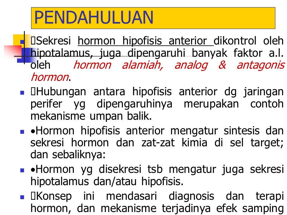 PENDAHULUAN  Sekresi hormon hipofisis anterior dikontrol oleh hipotalamus, juga dipengaruhi banyak faktor a.l. oleh hormon alamiah, analog & antagoni