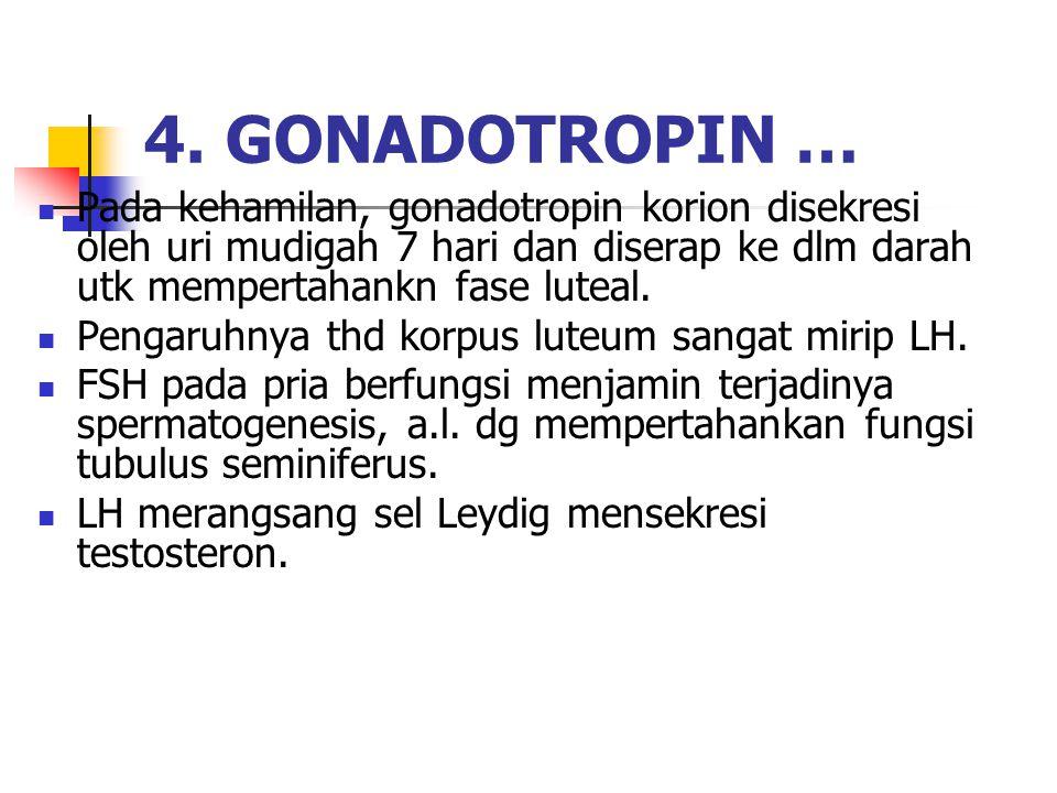 Pada kehamilan, gonadotropin korion disekresi oleh uri mudigah 7 hari dan diserap ke dlm darah utk mempertahankn fase luteal.