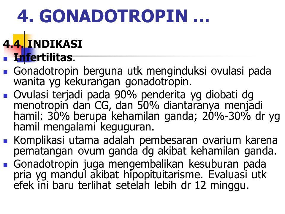 4.4. INDIKASI Infertilitas. Gonadotropin berguna utk menginduksi ovulasi pada wanita yg kekurangan gonadotropin. Ovulasi terjadi pada 90% penderita yg