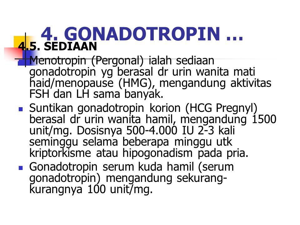 4.5. SEDIAAN Menotropin (Pergonal) ialah sediaan gonadotropin yg berasal dr urin wanita mati haid/menopause (HMG), mengandung aktivitas FSH dan LH sam