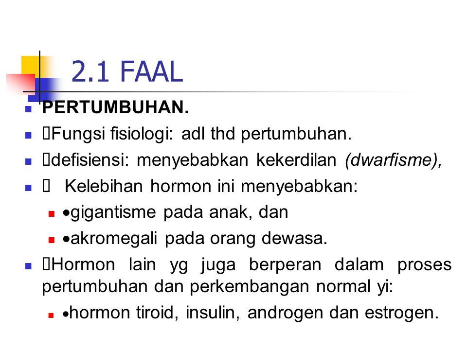 PERTUMBUHAN.  Fungsi fisiologi: adl thd pertumbuhan.  defisiensi: menyebabkan kekerdilan (dwarfisme),  Kelebihan hormon ini menyebabkan:  gigantis