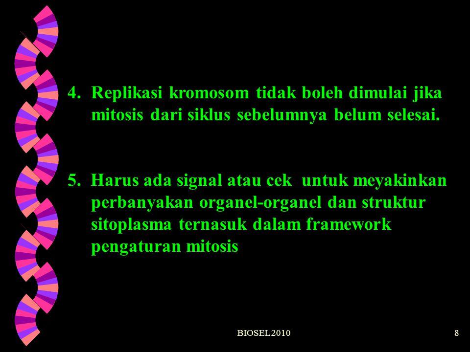 BIOSEL 20108 4.Replikasi kromosom tidak boleh dimulai jika mitosis dari siklus sebelumnya belum selesai. 5. Harus ada signal atau cek untuk meyakinkan