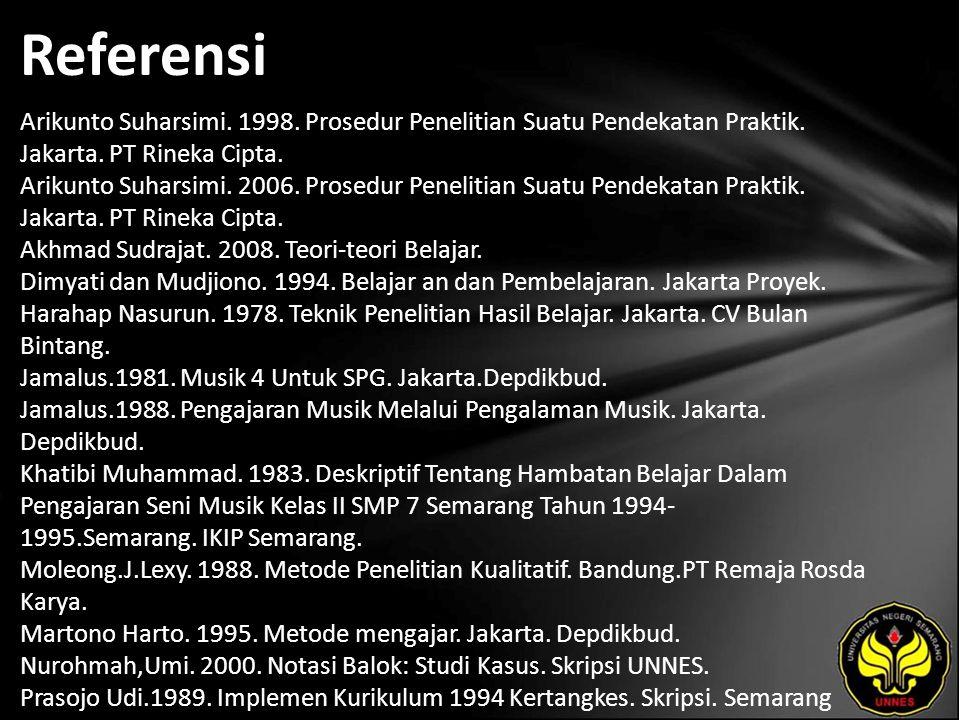 Referensi Arikunto Suharsimi. 1998. Prosedur Penelitian Suatu Pendekatan Praktik.