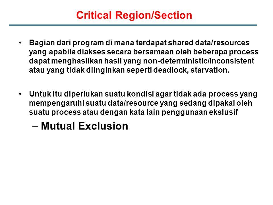 Critical Region/Section Bagian dari program di mana terdapat shared data/resources yang apabila diakses secara bersamaan oleh beberapa process dapat menghasilkan hasil yang non-deterministic/inconsistent atau yang tidak diinginkan seperti deadlock, starvation.
