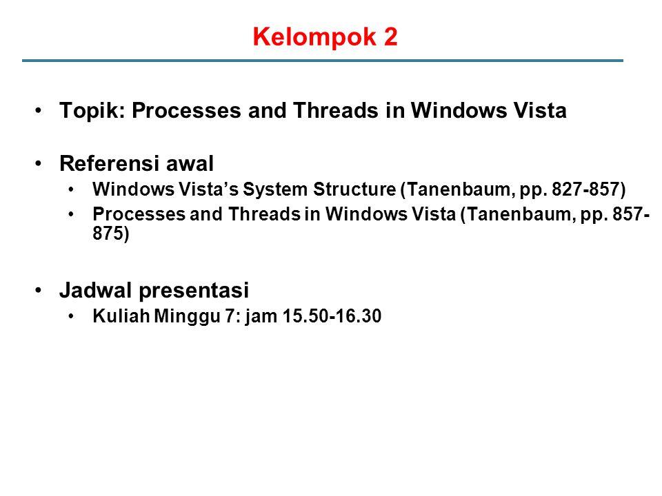 Kelompok 2 Topik: Processes and Threads in Windows Vista Referensi awal Windows Vista's System Structure (Tanenbaum, pp.