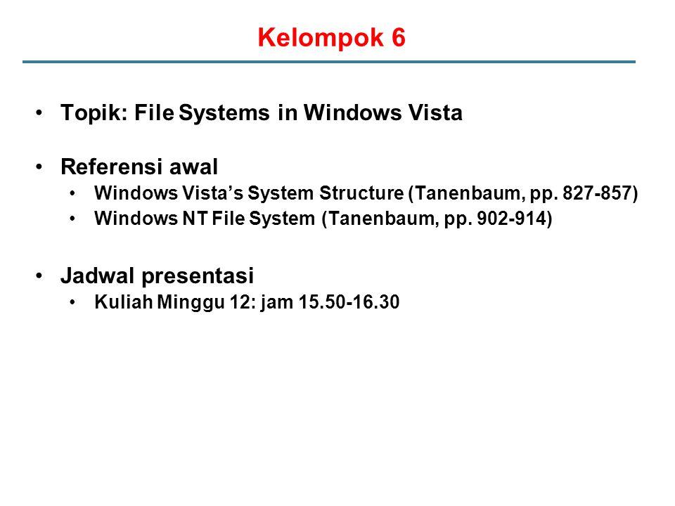 Kelompok 6 Topik: File Systems in Windows Vista Referensi awal Windows Vista's System Structure (Tanenbaum, pp.