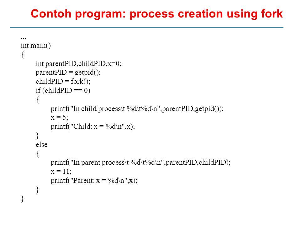 Contoh program: process creation using fork...