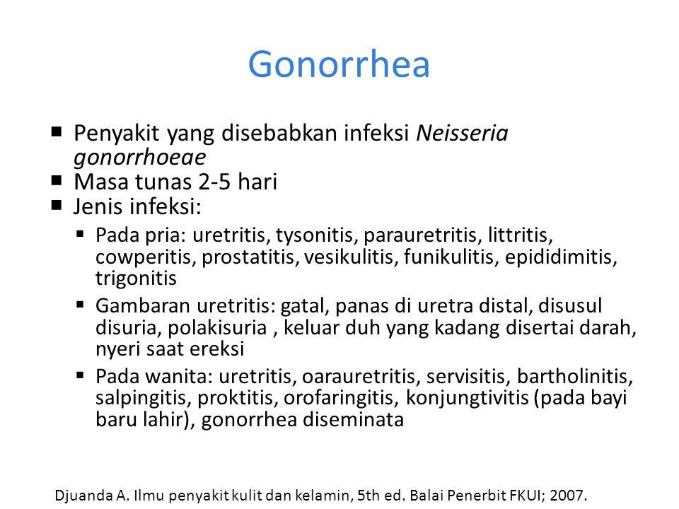 Karakteristik beberapa IMS PenyakitKarakteristik GonorrheaDuh purulen kadang-kadang disertai darah. Diplokokus gram negatif. TrikomoniasisDuh seropuru