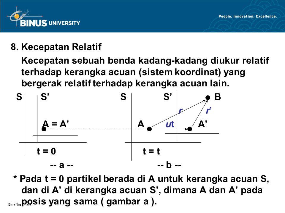 Bina Nusantara * Partikel bergerak bersamaan dengan kerangka acuan S' bergerak terhadap kerangka acuan S * Kecepatan S' terhadap S misal adalah u = konstan * Saat t berikutnya partikel di B (gambar b) Pergeseran partikel relatif terhadap acuan S : r Pergeseran partikel relatif terhadap acuan S' : r' Pergeseran acuan S' relatif terhadap acuan S : ut Maka : r = r' + ut Kecepatan relatif partikel terhadap acuan S : V = dr / dt = dr'/dt + d(ut)/dt atau V = V' + u V = kecepatan partikel relatif terhadap acuan S V' = kecepatan partikel relatif terhadap acuan S'