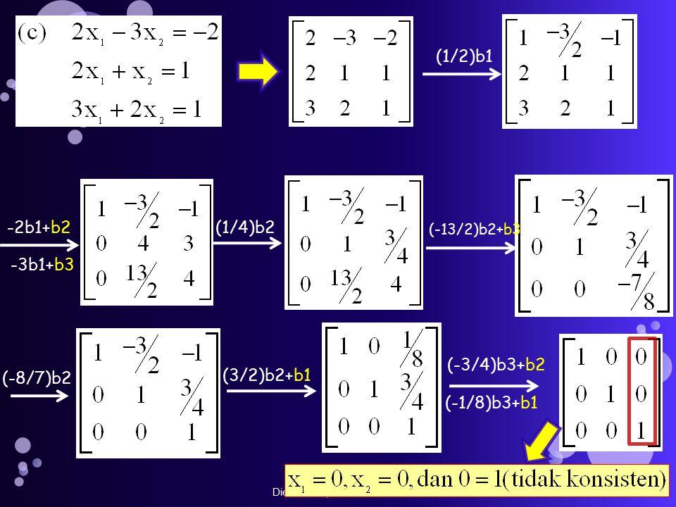 Dien Novita, STMIK GI MDP (1/4)b2 (-8/7)b2 (3/2)b2+b1 (1/2)b1 -2b1+b2 -3b1+b3 (-13/2)b2+b3 (-3/4)b3+b2 (-1/8)b3+b1
